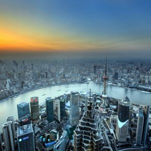 View of the Bund from Shanghai World Financial Center in Lujiazui district